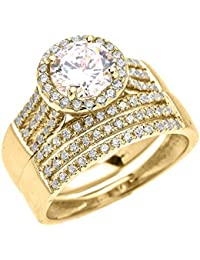 14k yellow gold 3 carat round micro pave halo modern engagement and wedding ring set - Wedding Rings Amazon