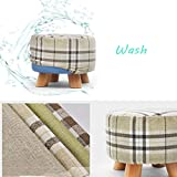 Round Footrest Padded Wood Small Osman Change Shoe Stool Detachable Linen Cover Color Bearing Weight 200kg (28cmx25cm)