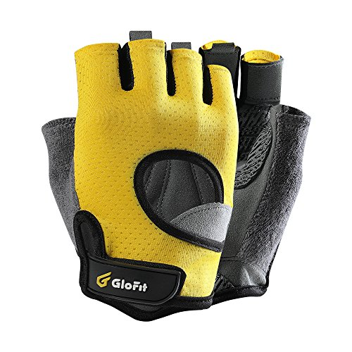 - Glofit FREEDOM Workout Gloves, Knuckle Weight Lifting Shorty Fingerless Gloves with Curved Open Back, for Powerlifting, Gym, CrossFit, Women and Men(Yellow, Large)