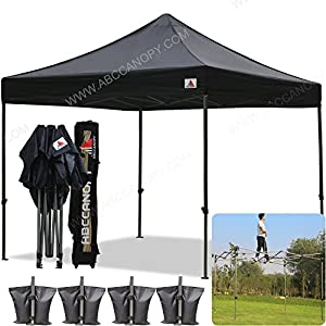 AbcCanopy 10x10 Pop up Tent Instant Canopy Commercial Outdoor Canopy with Wheeled Carry Bag and 4x Weight Bag (black)  sc 1 st  Amazon.com & Amazon.com : AbcCanopy 10x10 Pop up Tent Instant Canopy Commercial ...