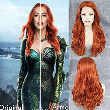 Amazon Com Ivy Hair Aquaman Mera Cosplay Wigs Long Orange Color