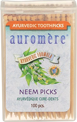 Ayurvedic Neem Toothpicks by Auromere - All Natural, with Neem and Vegan - 100ct