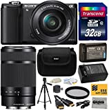 Sony Alpha A5000 20.1 MP Interchangeable Lens Camera with 16-50mm OSS Lens (Black) ILCE5000L & Sony E 55-210mm F4.5-6.3 OSS Lens for Sony E-Mount Cameras with Must Have Accessories Bundle Kit includes 32GB Class 10 SDHC Memory Card + Replacement (1200mAh)