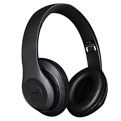 Head-Mounted Bluetooth Headphones-BTSShop Over Ear Foldable P15 Wireless V4.1 Earphone HandsFree Music Stereo Headset With Mic/FM/TF Card/AUX Function (Black)