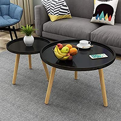 Couch ريكة Tables Set Of 2 Mdf Panel Beech Legs Round Sofa Side