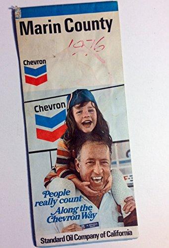 Chevron Road Map (Vintage Original 1973 Chevron Road Map of Marin County California)