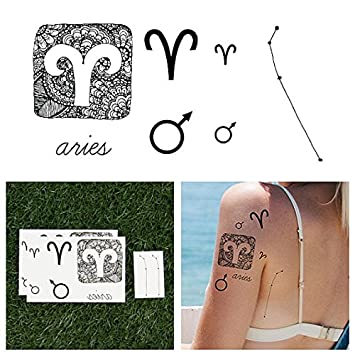 13066921c Amazon.com : Tattify Astrology Temporary Tattoos - Aries (Set of 14 Tattoos  - 2 of each Style) - Individual Styles Available - Fashionable Temporary  Tattoos ...