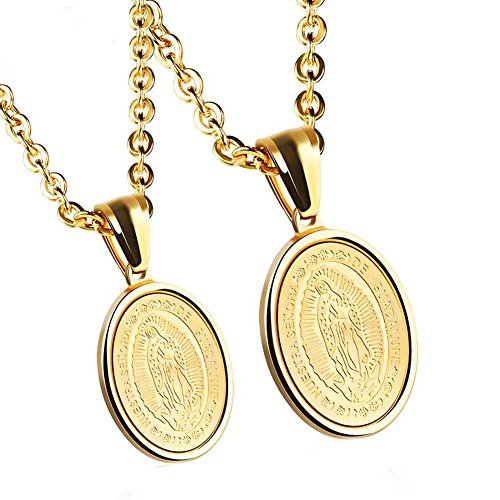 - JAJAFOOK Lovers Stainless Steel Necklaces Our Lady of Guadalupe Religious Pendant, Set of 2 Golden
