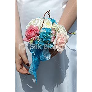 Ivory Peony & Pink Open Rose Bridesmaid Bouquet w/ Aqua Snowball 11
