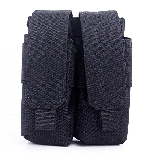 New Tactical Molle Dual Double Pistol 9MM Mag Magazine Pouch Close Holster (Black) 9mm 10 Round Magazine