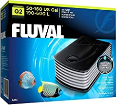 Q2 features an adjustable air flow control and is recommended for 50-160 gallons. Powerful yet extremely quiet, the Fluval Q2 Air Pump produces consistent air flow thanks to an advanced swing-arm and diaphragm design. A thick double-wall oute...