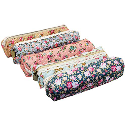 LJY 5-Pack Assorted Flower Floral Canvas Pen Holder Statione