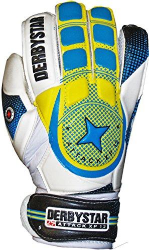 Derbystar Herren Attack XP 12 Torwarthandschuhe, Weiß/Blau/Gelb, 7