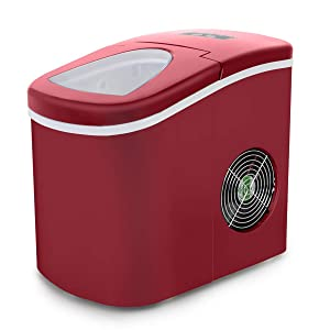 Deco Gear Electric Ice Maker Compact Top Load 26 Lbs. Per Day (Red)