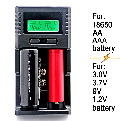 Intelligent Hardware (SUPEREX® Universal Intelligent smart Battery Charger for 3.7V Li-ion 18650, 3.0V LiIFePO4, 9V NiMH Li-ion, 1.2V NiMH AA AAA Rechargeable Batteries + Car Charger)