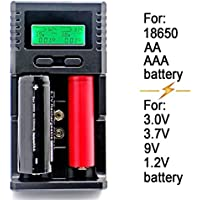 SUPEREX® Universal Intelligent smart Battery Charger for 3.7V Li-ion 18650, 3.0V LiIFePO4, 9V NiMH Li-ion, 1.2V NiMH AA AAA Rechargeable Batteries + Car Charger
