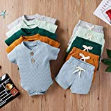 Summer Newborn Baby Boy Girl Clothes Set Ribbed