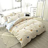 #10: Home Texitle Bedding Sets for Kids Lovely Yellow Chicken Pattern Design Duvet Cover Set 100% Cotton 3 Piece Twin Size -No Comforter