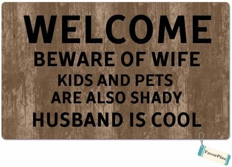 FavorPlus Welcome Beware of Wife Entrance Custom Doormat Door Mat Machine Washable Rug Non Slip Mats Bathroom Kitchen Decor Area Rug 15.7X23.6 Inch