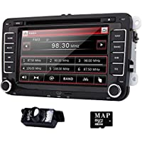 Eincar 7 inch Double Din In Dash Car Stereo for VW Volkswagen Golf Passat Polo Jetta Tiguan with DVD Player Multimedia System Support GPS Navigation USB SD FM AM RDS Radio Bluetooth Reverse Camera