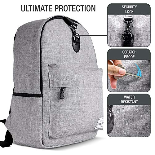 XDesign Travel Laptop Backpack with USB Charging Port +Anti-Theft Lock [Water Resistant] Slim Durable College School Computer Bookbag for Women, Men, Outdoor Camping&Fits Up to 16-inch Notebook -Grey by XDesign  (Image #2)