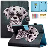 Casii Universal Case for 10 Inch Tablet, [Cards Slots] Colorful Protective Premium Vegan Leather Cover for 9.5-10.5 Inch Apple iPad,Kindle,Samsung Galaxy,Huawei,Lenovo,Asus Tablet, Cute Dog