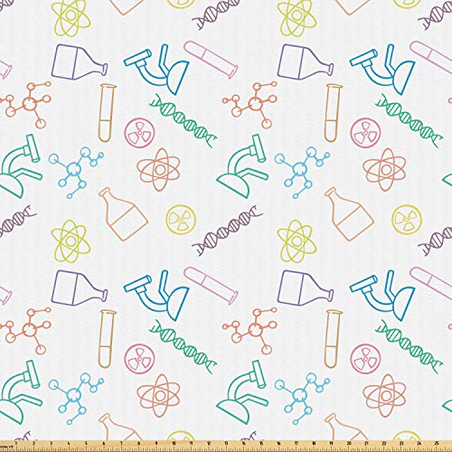 Ambesonne Science Fabric by The Yard, Chemistry Concept Pattern with Chemical Instruments University School Education, Microfiber Fabric for Arts and Crafts Textiles & Decor, 5 Yards, Multicolor