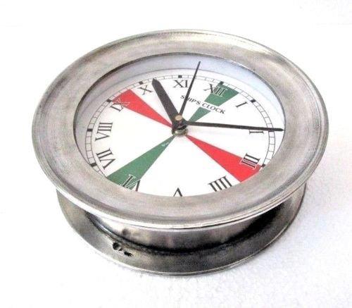 Brass Blessing LARGE - SHIP'S Nautical Clock – Marine RADIO ROOM Clock – ROMAN - Aluminium - Boat/Maritime/Naval (5009B) by Brass Blessing
