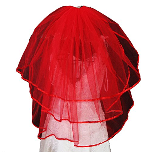 Vimans 2015 Women's Fashion Short Bridal Wedding Veils with Comb Red