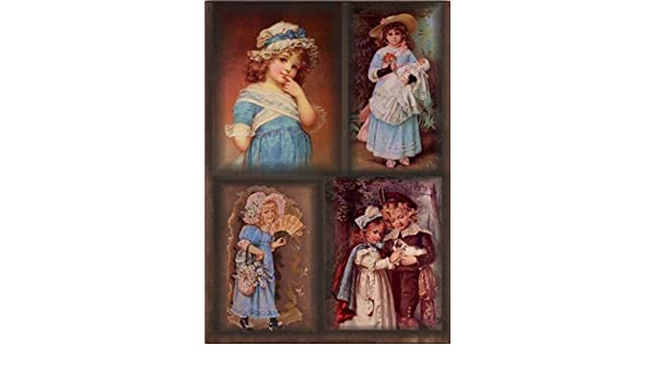 Made in Russia Rice paper for decoupage Kids girl and boy vintage. 8.27 /× 11.69 inches // 210 /× 290 mm // ~ A4