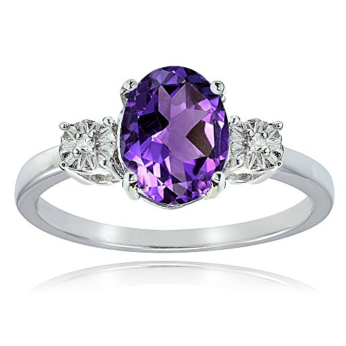 Ice Gems Sterling Silver African Amethyst and Oval Ring