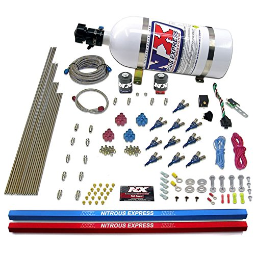 (Nitrous Express 81000EFI-10 250-500 HP 10-Cylinder EFI Piranha Nozzle System with 10 lbs. Bottle)