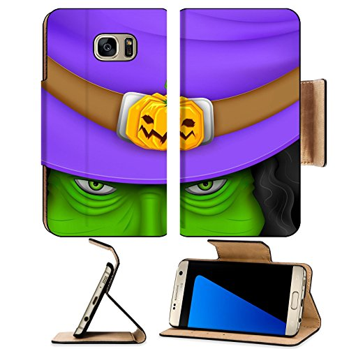 [Luxlady Premium Samsung Galaxy S7 Edge Flip Pu Leather Wallet Case IMAGE ID 25737229 illustration of Halloween witch wearing pumpkin] (Easy Movie Fancy Dress Costumes)