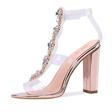 3dd33d3c5cf455 Onlymaker Women's Clear High Chunky Heels Gladiator Transparent Stiletto  Ankle Strap Open Toe Sandals Rose Gold