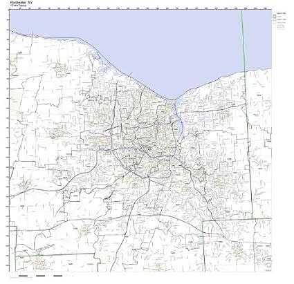 Amazon Com Rochester Ny Zip Code Map Laminated Home Kitchen