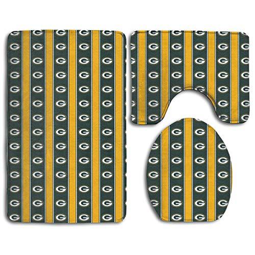 Sorcerer Custom Colorful Doormat American Football Team Green Bay Packers Indoor Bathroom Anti-Skid Mats,3 Piece Non-Slip Bathroom Rugs,Non-Slip Mat Bath + Contour + Toilet Lid - Bay 3 Piece Packers Green