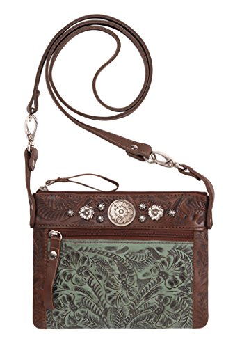 American West Crossbody Purse- Leather Handbag (Trail Rider - Brown Turquoise) by American West