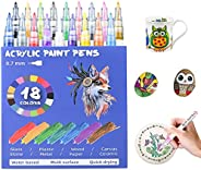 Acrylic Paint Pens, 24 Colors Acrylic Marker Pens 0.7mm Permanent Markers for Rocks Painting, Stone, Fabric, W