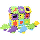 rainbow yuango 100 PCS EVA Foam Building Blocks Creative Educational Foam Brick House Playset Toddlers EVA Cube Puzzles Colorful Floor Mats(No.2501)