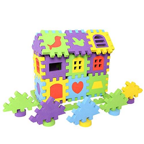 rainbow yuango 100 PCS EVA Foam Building Blocks Creative Educational Foam Brick House Playset for Toddlers EVA Cube Puzzles Colorful Floor - Cube Eva