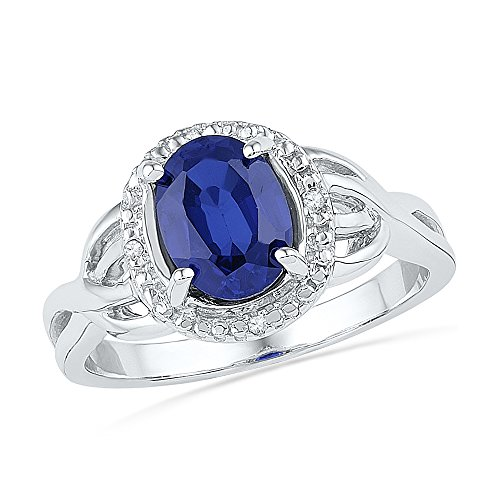 Size - 6 - Solid 925 Sterling Silver Oval Round Blue Simulated Sapphire And White Diamond Engagement Ring OR Fashion Band Prong Set Solitaire Shaped Halo Ring (.02 cttw)