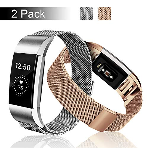 Fundro Compatible Fitbit Charge 2 Bands (2 Pack), Stainless Steel Metal Milanese Replacement Wrist Band Magnetic Lock Fitbit Charge 2 Small Large Women Men (2-Pack Rose Gold+Silver, Small)