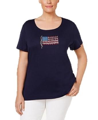 206a25d6d40 Karen Scott Plus Size Cotton American Flag Graphic T-Shirt in Intrepid Blue  (0X