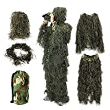 OUTERDO Camo Suits Ghillie Suits 3D Leaves Woodland Camouflage Clothing Army Sniper Military