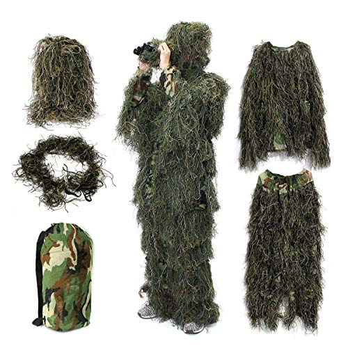 OUTERDO Camo Suits Ghillie Suits 3D Leaves Woodland Camouflage Clothing Army Sniper Military Clothes and Pants for Jungle Hunting,Shooting, Airsoft,Wildlife Photography (Ghillie Suit) -