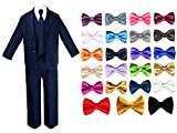 6pc Baby Infant Toddler Boy Teen Formal Wedding NAVY Suit Extra Bow Tie Sm-4T (2T, Champagne)