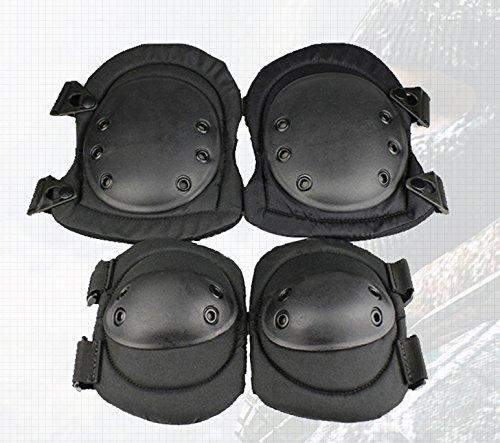 Hockey Goalie Knee Pads Junior (Besplore Airsoft Tactical Adjustable Combat Knee Elbow Protector Pads Set 4PCS,Fastening,Flexible,Black)