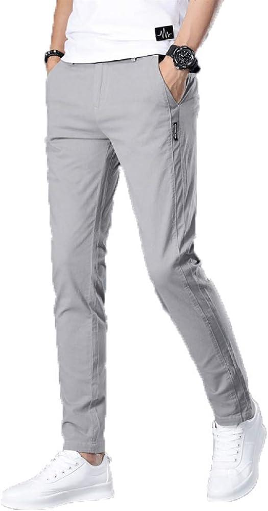 N/ A Pantalones Casuales Ajustados para Hombres Clásicos comerciales Rectos Longitud Total Moda Pantalones de Trabajo de Color Liso