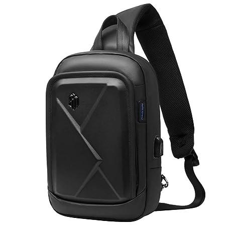 l'ultimo 3faed 7add3 Arctic Hunter Zaino Monospalla Uomo Marsupio Tracolla Nero, Impermeabile  Sling Bag con Porta USB di Ricarica