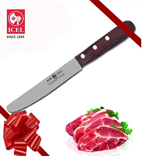 ICEL Cutlery 4.3/4-inch Serrated Rounded Edge High Carbon Stainless Steel Rosewood Handle Steak Knife.